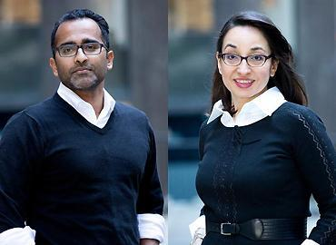 Arts & Science alumna Fazila Seker (right) co-founded MOLLI Surgical with U of T Associate Professor Ananth Ravi (left).