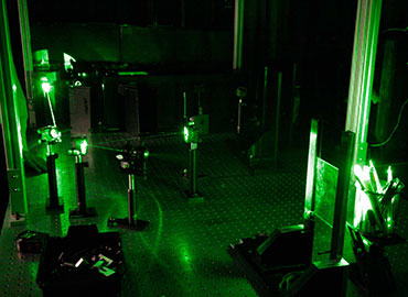 Optical Table in operation at the Impact Centre Holography Lab