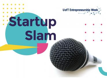 Startup Slam writing beside the microphone on a white background